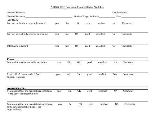 Curriculum Material Review Worksheet
