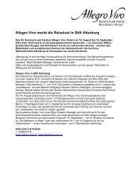 Allegro Vivo weckt die Reiselust  in Stift Altenburg
