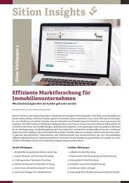 Sition Insights - Effiziente Marktforschung für Immobilienunternehmen