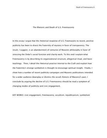rhetorical analysis sample essay muecke the rhetoric and death of u s masonry in this essay i argue