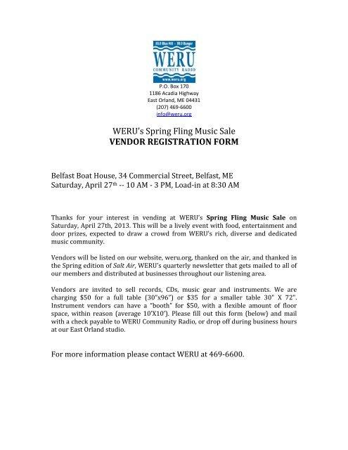 Weru S Spring Fling Music Sale Vendor Registration Form