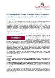 Kulturakademie der Stiftung Kinderland Baden-Württemberg