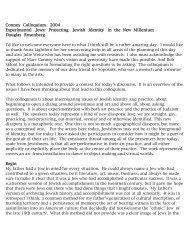 Conney Colloquium 2004 Experimental Jews: Projecting Jewish ...