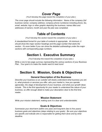 View A Sample Beverage Business Plan Outline Capital West - Simple business plan outline template