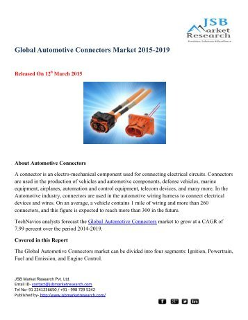 JSB Market Research: Global Automotive Connectors Market 2015-2019