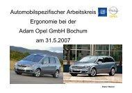 Automobilspezifischer Arbeitskreis Ergonomie bei der ... - AutoErg.net