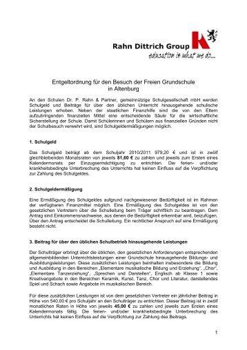 Entgeltordnung für den Besuch der Freien Grundschule in Altenburg