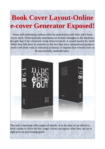 Book Cover Layout-Online e-cover Generator Exposed!
