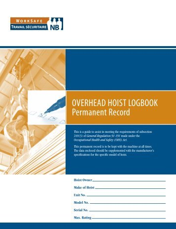 OVERHEAD HOIST LOGBOOK Permanent Record