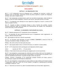 19º CAMPEONATO INTERNO DE BASQUETE - 2012