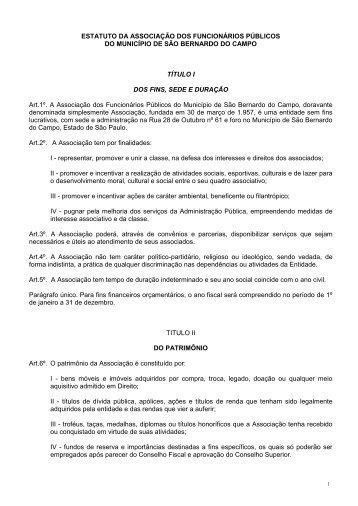 Estatuto - Associação dos Funcionários Públicos de São Bernardo ...