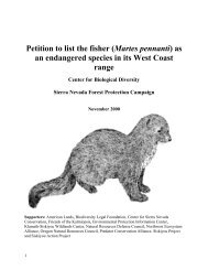2000 Petition to list as Endangered Species - Sierra Forest Legacy