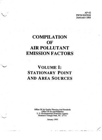 Compilation of Air Pollutant Emission Factors. AP 42, US EPA