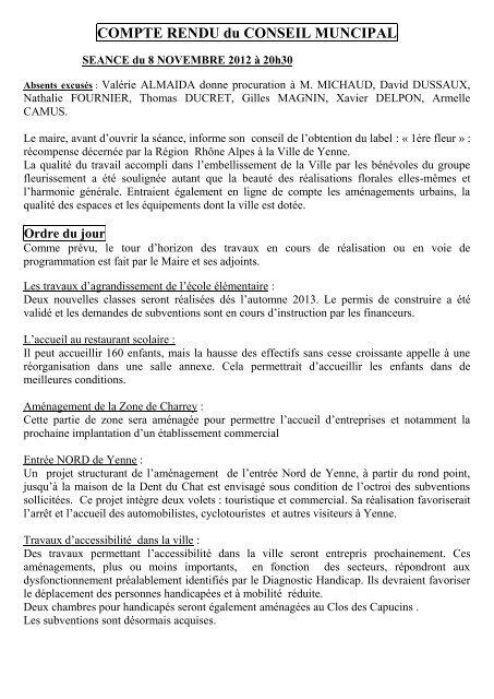 8 Novembre 2012 Mairie De Yenne