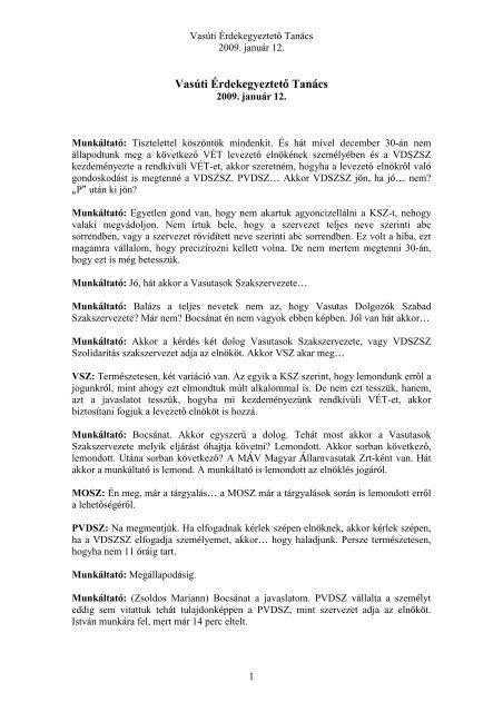 2009.01.12. - Pályavasúti Dolgozók Szakszervezete
