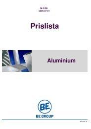 Aluminium Prislista - BE Group