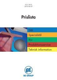 Prislista stål, specialstål, rör 2010-06-07.pdf - BE Group