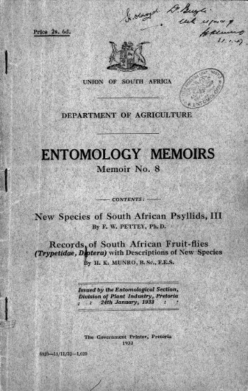 ENTOMOLOGY MEMOIRS