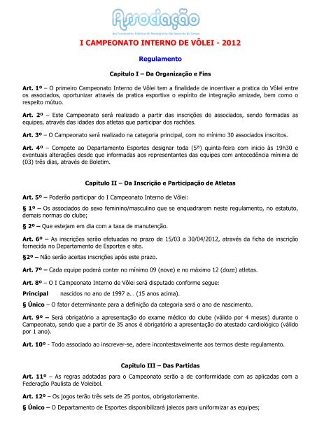 Regulamento do Campeonato