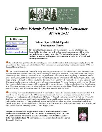 Tandem Friends School Athletics Newsletter March 2011