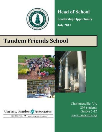 Head of School Leadership Opportunity July 2011 - Tandem Friends ...