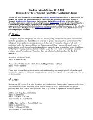 Required Book List for 2013-2014 - Tandem Friends School
