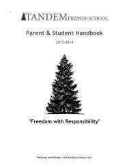 Parent & Student Handbook, 2013-2014 - Tandem Friends School