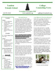 Tandem College Counseling News Friends School