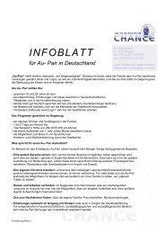 INFOBLATT für Au-Pair - Au-pair Vermittlung
