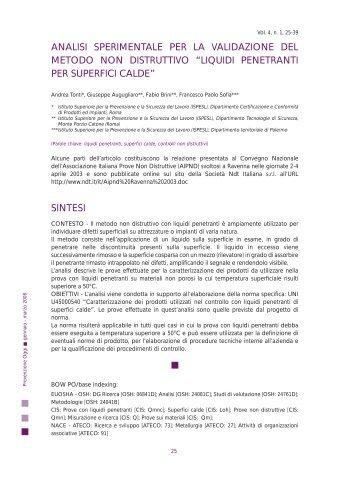 Testo completo pdf - Prevenzione Oggi - Ispesl