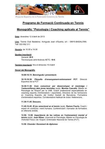 Monogràfic Psicologia i Coaching aplicats al Tennis – 12 abril 2013