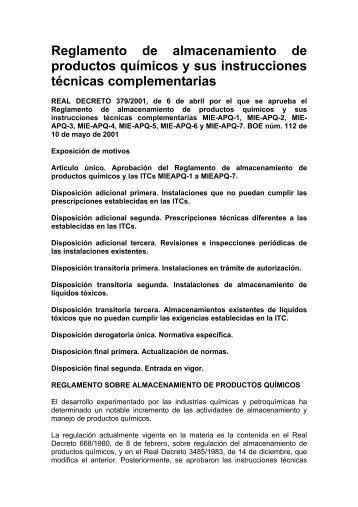 Reglamento de almacenamiento de productos químicos y sus ...
