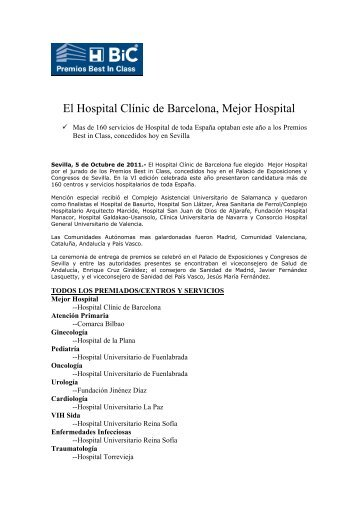 El Hospital Clínic de Barcelona, Mejor Hospital - Premios Best in Class