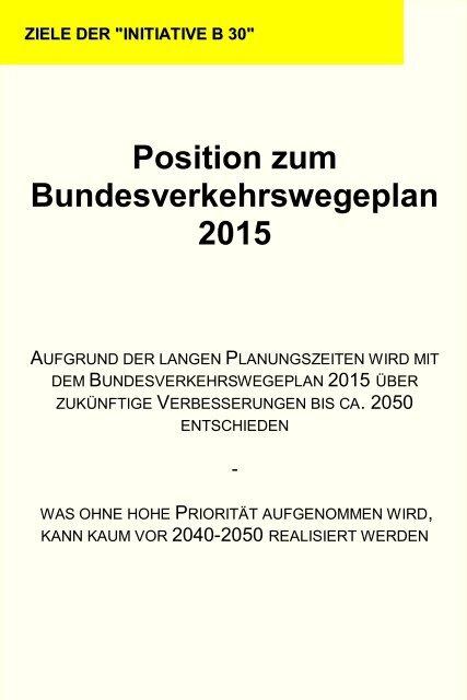 Position zum Bundesverkehrswegeplan 2015