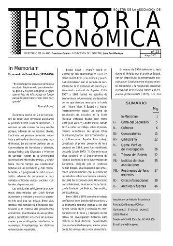 In Memoriam - Asociación española de historia económica