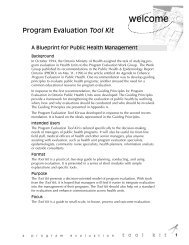 PHAC – Program Evaluation Toolkit - Pacific AIDS Network