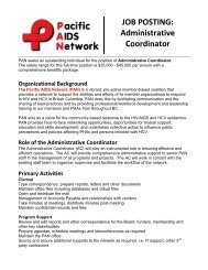 JOB POSTING: Administrative Coordinator - Pacific AIDS Network