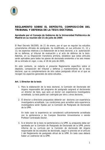 Reglamento de Depósito, Tribunal y Lectura de la Tesis Doctoral