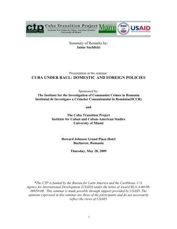 Dr. Jaime Suchlicki - Cuba Transition Project - University of Miami