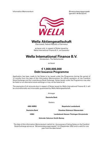 Wella Aktiengesellschaft Wella International Finance B.V. - Xetra