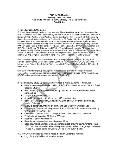 CBR in BC Meeting Draft Notes – June 13 2011 - Pacific AIDS Network