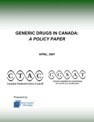 2007 Generic Drugs in Canada - Canadian Treatment Action Council