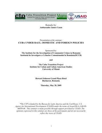 Ambassador James Cason - Cuba Transition Project - University of ...