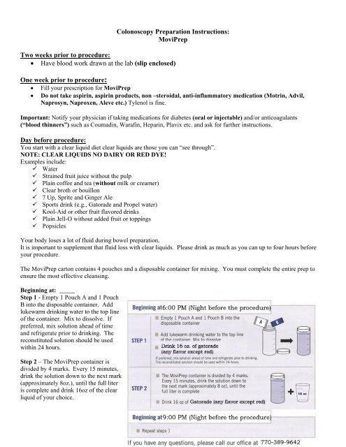 Colonoscopy Preparation Instructions - Women and Infants