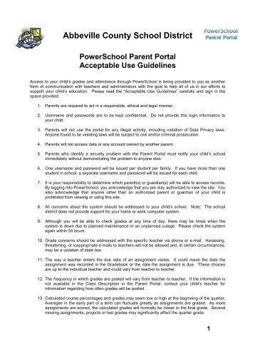 PowerSchool Parent Portal Acceptable Use Guidelines - Abbeville ...