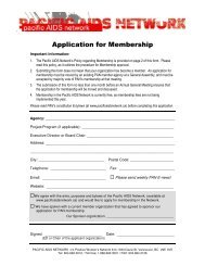 Application for Membership - Pacific AIDS Network