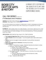 CALL FOR ENTRIES Fall/Winter 2013 - Arts and History