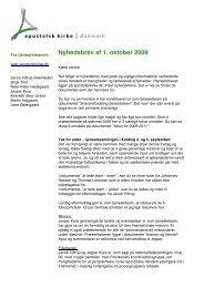 Nyhedsbrev af 1. oktober 2009 - Apostolsk Kirke i Danmark