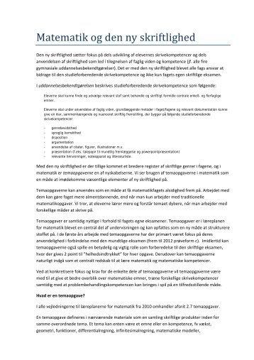 Matematik og den ny skriftlighed - Uvmat.dk