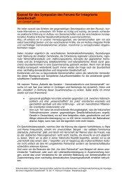 Exposé für das Symposion des Forums für Integrierte Gesellschaft